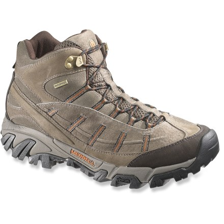 Camp and Hike The Merrell Geomorph Blaze Mid Waterproof hiking boots offer versatility and waterproof protection to keep your feet comfortable and supported on varying terrain and in mixed conditions. Mid-height nubuck and suede leather uppers are supple, lightweight and durable; Strobel construction provides flexibility and comfort out of the box. Waterproof, breathable membranes are seam-sealed to help keep the elements out while maintaining good breathability to keep your feet comfortable. Bellowed tongues help keep debris out; protective toe caps deliver abrasion resistance. Polyester mesh linings and removable footbeds are treated with AEGIS Microbe Shield(R) antimicrobial treatment to deter odor development. EVA midsoles supply cushioning for all-day wear; Air Cushion heel pockets provide extra shock absorption under heels. Injection-molded nylon arch shanks stabilize and support feet on uneven terrain. Merrell Geomorph Blaze Mid Waterproof hiking boots sport rugged Vibram(R) outsoles with sticky rubber and deep 6mm lugs for stability and traction on changing terrain. - $97.93