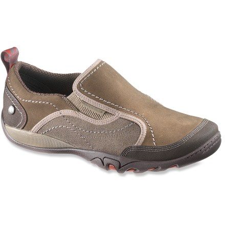 The Merrell Mimosa Moc shoes slip on easily and sport a robust, trail-inspired platform for adventurous excursions. Rugged nubuck leather uppers offer great breathability and lasting wear; toe bumpers help protect feet. Q-Form(R) alignment system provides women with a precise anatomic fit for superb, tailored comfort. AEGIS Microbe Shield(R) antimicrobial treatment deters odors. Heel loops aid entry. EVA midsoles and Air Cushion heel pods cushion feet. Molded nylon arch shanks supply support. Merrell Mimosa Moc shoes have nonmarking rubber outsoles to provide surefooted traction; rubber wraps up slightly at heels and toes to protect uppers. - $69.93