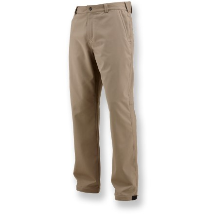 Camp and Hike These stretchy, moisture-wicking Merrell Chameleon pants transition easily from hiking to hanging out. Breathable, wind-resistant polyester/elastane blend offers ample 2-way stretch, so pants are less likely to bind or catch. Durable Water Repellent finish causes water to bead up and roll off. Snap closure at waistband stays comfortable under pack belts. Articulated knees allow comfortable range of motion with no tugging. Reinforced, snap-adjustable cuffs make getting boots on and off a cinch. Merrell Chameleon pants feature 1 zippered leg pocket, 2 zippered hand pockets and 2 rear patch pockets. Closeout. - $33.83
