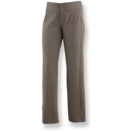 Camp and Hike These soft, super stretchy Merrell Lena pants help you look and feel your best. Breathable cotton is blended with a large dose of elastane for incredible stretch and comfort. Wide waistband with snap closure and zippered fly offers a flattering fit. 2 rear flap pockets, one with a zipper, combine style and function. Merrell Lena pants feature a relaxed fit. Closeout. - $24.83