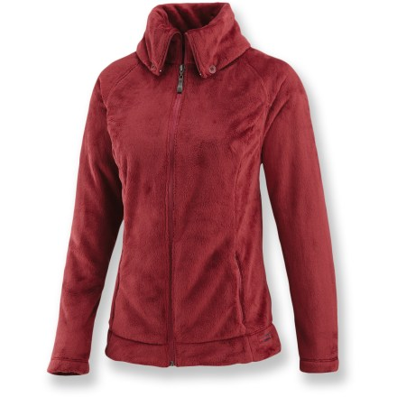 The Merrell Lyla Fleece jacket offers effortless style and amazing protection from the cold. Warm, soft polyester fleece keeps the wind at bay and offers amazing heat retention. Button-down collar can be folded up for additional warmth. Raglan sleeves allow jacket to move with you. Handwarmer pockets offer refuge to cold fingers. Closeout. - $42.83