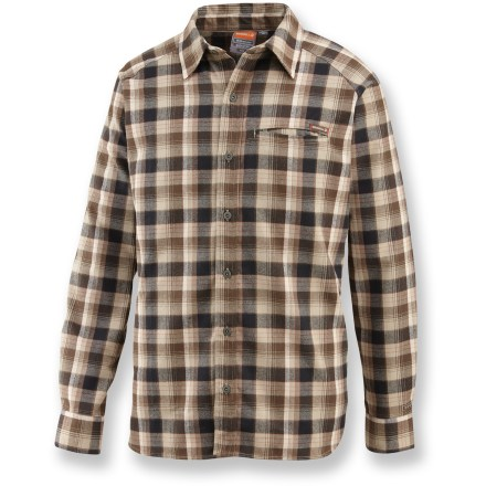 The Merrell Hoffman shirt is just right for kicking back after a long day on the trail. Polyester flannel canvas wicks moisture away to keep you dry. Fabric provides UPF 50+ sun protection, shielding skin from harmful ultraviolet rays. Single chest pocket holds money, matches or munchies. Closeout. - $24.83