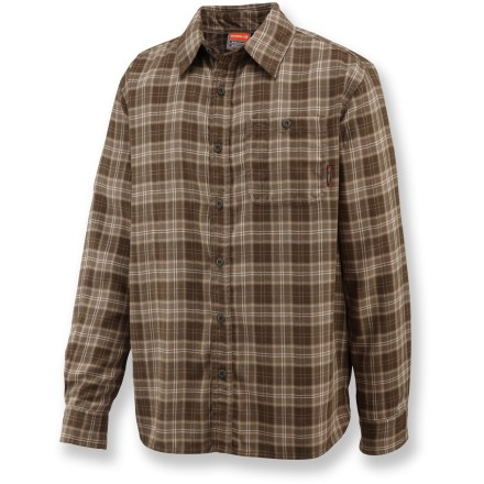 Camp and Hike The Merrell Micah shirt is built for occasions indoors and out, from hiking to weekend lounging. Polyester flannel fabric wicks moisture away from your skin and dries quickly to keep you comfortable. Fabric provides UPF 20 sun protection, shielding skin from harmful ultraviolet rays. Single chest pocket with button closure. Closeout. - $29.93