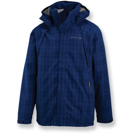 Snowboard Head for the mountains and enjoy the snow in the Merrell Sharp Peak jacket. Polyester 2-layer Opti-Shell waterproof breathable coating stands up to Mother Nature; jacket is fully seam sealed. Polyester taffeta lining easily slides over base layers. Opti-Warm(TM) synthetic insulation offers lightweight warmth that continues to insulate when wet. When the weather improves, leave the zip-off hood at home. Underarm vents offer airflow when the activity level rises. Removable powder skirt keeps the snow out. Merrell Sharp Peak jacket features an inner media pocket, 2 zippered hand pockets and a drawcord hem. Closeout. - $119.93