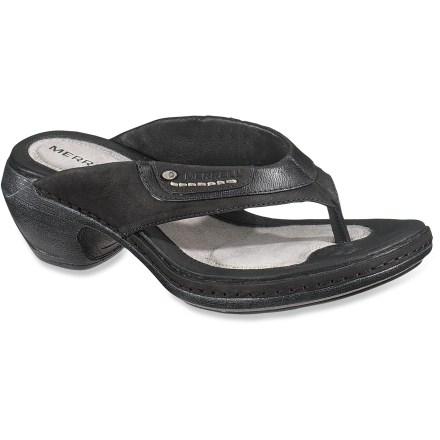 Entertainment For casual occasions in the sun, choose the Luxe Thong sandals from Merrell. Full-grain leather uppers and toe posts wrap feet in style and comfort, and lined with soft pigskin. Pigskin and microfiber-wrapped memory foam topsoles are soft against bare feet. Polyurethane midsoles cushion each step; nylon arch shanks offer support and comfort for extended wear. Rubber outsoles for traction. Closeout. - $29.73