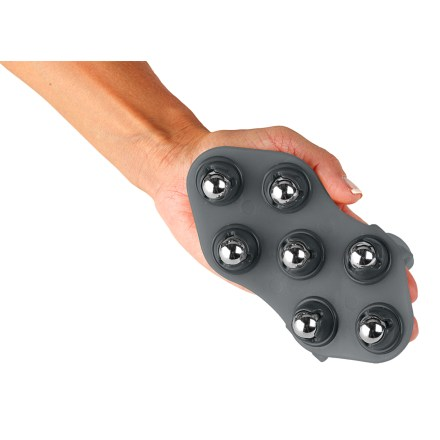 Fitness The Moji 360 Mini massager fits in the palm of your hand and brings powerful relief to sore muscles. Measuring only 6 x 3 x 1 in., the 360 Mini massager fits in a purse, pocket, backpack or running belt. Apply light pressure to the chrome-plated steel spheres for gentle massage or press harder for deep-tissue massage. Moji 360 Mini massager flexes for good contact. - $29.00