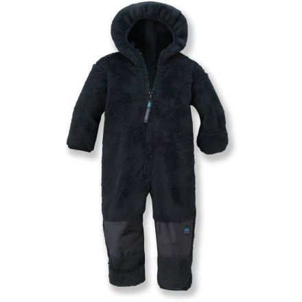 Hunting This adorable Molehill high-loft Bunting Bear suit fleece keeps babies warm and cozy. Polartec(R) Thermal Pro(R) fleece offers an excellent warmth-for-weight ratio, dries quickly and insulates even when wet. Hood and fold-over cuffs at both wrists and ankles offer extra warmth as needed. Nylon-reinforced knees provide durability as child learns to crawl. Back zipper extends from leg to crown of hood, allowing easy dressing/undressing and diaper changes; front zipper provides additional access. Resists pilling to maintain a nice appearance. Special buy. - $21.83