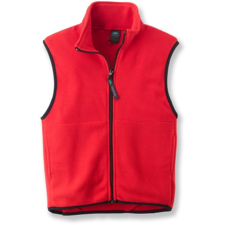 The Molehill fleece vest is a great layering piece when additional warmth is needed. Soft, non-pilling polyester fleece retains warmth, continuing to insulate even if wet. Beefy full-length zipper for easy on/off; stretch binding at armholes and hem improve fit. Hand pockets. Special buy. - $13.83