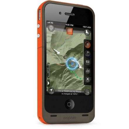 Camp and Hike The Mophie Juice Pack Outdoor Edition case for iPhone(R) 4/4s features a built-in rechargeable battery, letting you travel farther and keeping you connected. Rechargeable battery concealed inside the protective case virtually doubles your battery life and protects your iPhone 4/4s at the same time. Thin and light case offers the full protection of a hard shell. Built-in, rechargeable battery can be set to Charge or Standby with the flip of a switch; integrated LED status indicator tells you exactly how much juice is left. Included USB cable lets you recharge your battery or sync your iPhone 4/4s to iTunes without removing it from the Mophie Juice Pack Air case. Pair the Mophie Juice Pack Outdoor Edition case with the Outdoor Edition app (1-year subscription included) to transform your phone into a dedicated GPS receiver. Outdoor Edition app lets you use your iPhone 4/4s to plan and track your journeys, recording tracks, waypoints, speed, distance and elevation-even geotagging photos! With the app, you can discover hiking trails, mountain biking routes and over 1 million outdoor points of interest across the United States. Outdoor Edition app lets you share your adventures by uploading recorded data to Facebook or sending it via email. - $119.95