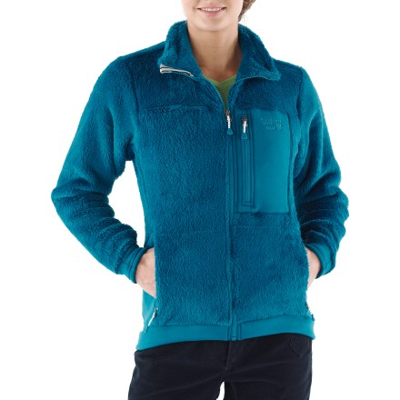 Camp and Hike Mountain Hardwear Monkey Woman fleece jacket provides superb durability and lightweight protection for backcountry trips and alpine climbing. Polartec(R) Thermal Pro(R) Monkey Phur features a high-pile curl on the outside and smooth velour on the inside; this year's version is softer than ever. It dries quickly when wet, is highly breathable and resists pilling. Polartec Power Stretch(R) cuffs, wrist panels and waist offer a stretchy, quick-drying seal. Zippered hand pockets and a chest pocket hold essentials. - $79.83
