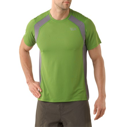 Fitness This lightweight, short-sleeve tee is a truly wicked-as in ''moisture is wicked away''-yet remarkably well-behaved choice for outdoor fun. Quick-drying fabric moves moisture away from your skin, and its open-knit mesh structure allows maximum airflow; antimicrobial treatment fights odors. Flatlock seams maximize motion and minimize abrasion. Semifitted cut with side contrasting panels. - $18.83