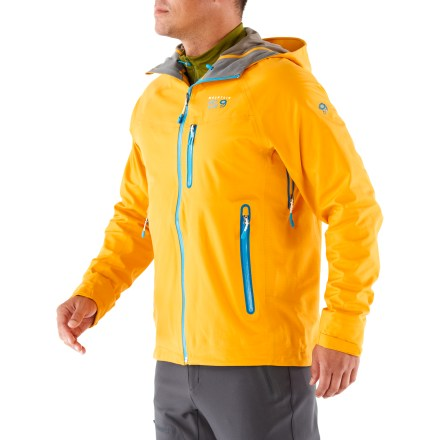 The Mountain Hardwear Kepler is a must-have for backcountry adventures. This soft-shell jacket has sonically welded seams and is totally waterproof. Dry.Q Elite fabric's air-permeable membrane allows air-not just moisture-to pass outward through the fabric, so you stay dry on the inside as well as the outside. The always-on airflow doesn't wait for you to heat up before beginning to breathe; breathability and comfort start the minute you put on the jacket. Dry.Q fabric prevents clamminess and helps keep you cool and dry. Helmet-compatible hood with single-pull adjustment system features an extra beefy brim. Windflap backs front zipper; Micro-Chamois(TM)-lined chin guard eliminates zipper chafe. 2-way pit zippers provide fast venting options. Water-tight zips seal out moisture. Hem drawcord and rip-and-stick cuff tabs; soft butter jersey internal cuffs wick moisture for warm comfort. Zip hand and chest pockets and an internal security pocket. Mountain Hardwear Kepler jacket has a slim, alpine fit for efficient performance. - $199.83