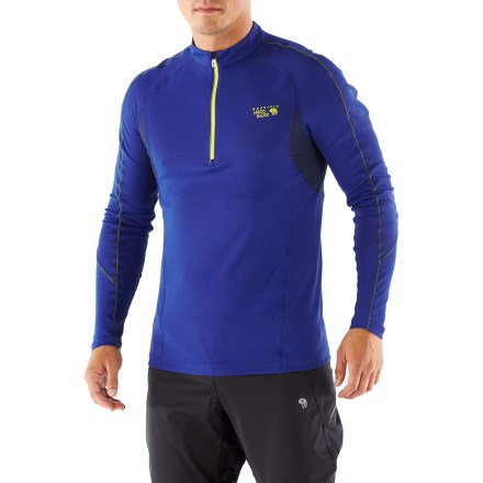 Fitness The Mountain Hardwear Elmoro(TM) long-sleeve Zip-T shirt brings pajama-worthy comfort to fast-paced activites. Quick-drying fabric polyester and polypropylene fabric wicks moisture away from your skin while an antimicrobial finish fights odor. With a UPF 25 rating, fabric provides protection against harmful ultraviolet rays. Deep zipper offers instant ventilation. Flatlock seams maximize motion and minimize abrasion. Reflective highlights, reflective zipper pull and luminescent print increase visibility in low light. The Mountain Hardwear Elmoro long-sleeve Zip-T shirt offers an athletic, close-to-body fit. - $48.93