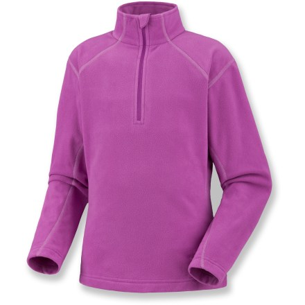 The Mountain Hardwear MicroChill Zip fleece top keeps them warm when enjoying cold days outdoors. Polyester fleece wicks moisture and dries quickly to keep her comfortable during active pursuits. Semifitted cut and flatlock construction look and feel great. High-cut collar enhances protection from the cold. Half zipper allows ventilation control. Closeout. - $16.83