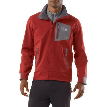 Climbing Water resistant and highly breathable, the Mountain Hardwear G50 soft-shell jacket delivers high performance in a low-profile, technical design. G50 excels during movement-oriented sports such as alpine climbing and snow sports. Synchro soft-shell fabric offers highly durable, water-resistant and windproof protection. AirShield(TM) is a durable, windproof membrane that allows heat and moisture vapor to escape, so you stay dry from the inside. Brushed lining wicks moisture away from you and adds a bit of warmth for increased comfort. Micro-Chamois(TM)-lined chin guard prevents zipper chafe. Dual hem drawcords allow quick fit adjustments; buttery-soft microfleece cuffs seal in warmth. Mountain Hardwear G50 jacket features bonded, laser-cut handwarmer pockets and chest pocket with water-tight zippers, plus a mesh security pocket inside. Closeout. - $88.83