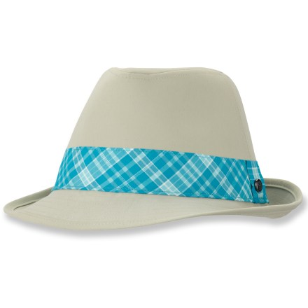 Sport the fashionable Mountain Hardwear Sun Fedora hat on your summertime outings. Nylon elastane fabric provides UPF 50 protection from harmful solar rays. 2.5 in. brim shades your face from the sun. Underside of the brim is dark to help reduce glare. Mountain Hardwear Sun Fedora hat has a colorful hatband that adds style. - $19.83