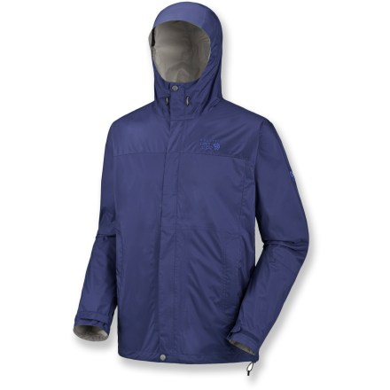 The Mountain Hardwear Epic jacket battles the elements thanks to its waterproof construction. Ripstop nylon shell features Conduit(TM) SILK, a breathable, waterproof laminate that's soft to the touch. Ergonomic brimmed hood adjusts to fit snugly around your face and temples for superior protection and visibility. Pit zippers offer cooling airflow as your activity level heats up. Features zippered handwarmer pockets. Adjustable hem drawcords and laminated cuff tabs keep out the elements. Closeout. - $51.83