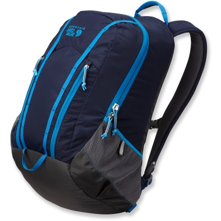 Entertainment The Homer daypack from Mountain Hardwear is clean and rugged, and built with plenty of pockets to keep everyday necessities neat and organized. Roomy main compartment with burley zipper and padded laptop sleeve; holds up to a 15 in. laptop. Organizer in main compartment includes 2 padded pockets ideal for delicate electronics. 2 zip pockets on front panel offer additional storage and organization. Dual daisy chains offer convenient lash/clip points. Mountain Hardwear Homer daypack has side mesh pockets with reflective tabs to keep water bottles or other quick-access items handy. Fully padded back panel and shoulder straps with spacer mesh provide comfortable cushioning and ventilation. Tough body panel fabrics combine with rugged padded bottom and fully bonded seams to ensure durability. - $62.93