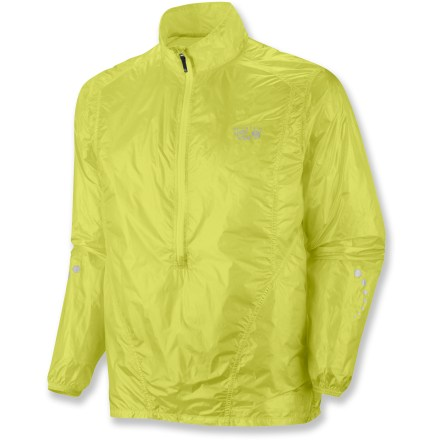 Fitness Perfect for fast runs and active motion, this wind-resistant Ghost Whisperer Anorak jacket from Mountain Hardwear repels light moisture and weighs in under 2 oz.. Very lightweight ripstop nylon protects core heat and resists light wind and moisture. Durable Water Repellent finish causes water to bead up and roll off, fending off light moisture. Stormy skies on the horizon? Pack jacket into the built-in pocket, grab and get out on your run. Deep zipper offers instant ventilation. Reflective highlights enhance visibility. Weighs 1.87 oz. The semifitted Mountain Hardwear Ghost Whisperer Anorak jacket is perfect for active motion. - $93.93