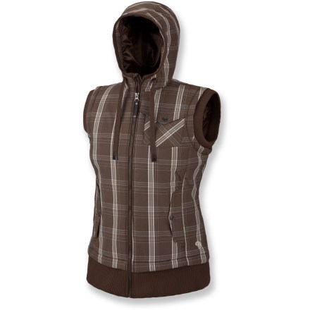 The Mountain Hardwear Rugia Plaid insulated vest adds both warmth and style, with a cozy hood to pull up in high winds, rain or snow. Nylon fabric features a Durable Water Repellent to fend off light rain. Lofty Thermic Micro(TM) synthetic insulation keeps you warm, and compresses down for easy packing. Rib-knit trim at collar, cuffs and armholes. Interior zip pocket stashes keys, ID and other goodies. 2 zippered hand pockets. Closeout. - $38.73