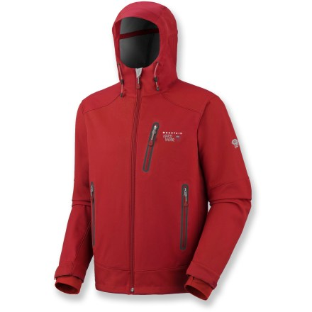 A technical soft shell for alpine adventures, the Mountain Hardwear Mecurial jacket has you covered in marginal conditions. Soft polyester twill fabric resists water and wind for lightweight protection from the elements. Helmet-compatible hood and drawcord hem features single-hand adjustment for quick fit fine-tuning. Internal cuffs have thumbholes to secure sleeves over hands for warmth; adjustable tabs to seal out snow. Hand pockets are set high to accommodate a harness or pack. Closeout. - $109.93