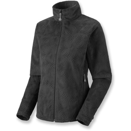Soft as sable, the Mountain Hardwear Sable jacket offers luxurious warmth to beat the winter chill. Windproof AirShield(R) fleece blocks out cold air. All-over embossed pattern creates an elegant look. Dual hem drawcords allow quick fit adjustments. Zippered handwarmer pockets. Closeout. - $104.93