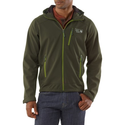 The Mountain Hardware Principia soft-shell jacket offers wind- and water-resistant protection. It sheds water and snow to keep you comfortable in a wide variety of conditions. - $81.93