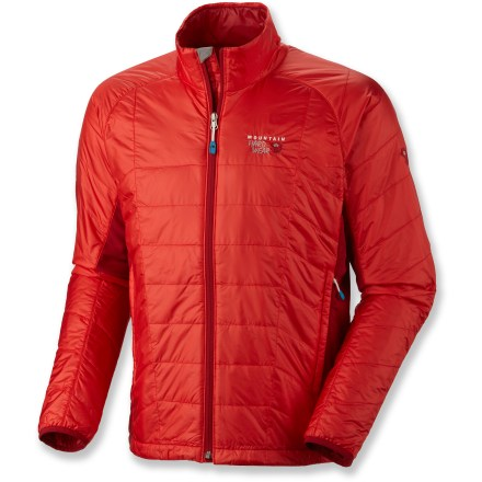 The Mountain Hardwear Zonal jacket is lightweight, low-profle and warm. MicroClimate Zoning(TM) construction follows the body's natural hot and cold spots. MicroClimate Zoning means body panels and sleeves are lightly insulated for just the right amount of warmth, while stretch side panels enhance fit and breathability. Thermic Micro(TM) synthetic microfiber insulation is thermally efficient and has excellent loft retention; it's soft and compressible and continues to insulate when wet. Tightly woven ripstop nylon fabric is soft, fine and ultra light; Durable Water Repellent finish sheds light rain and snow. Micro-Chamois(TM)-lined chin guard prevents zipper chafe. Dual hem drawcord provides quick fit options and elastic cuffs help seal in warmth. The Mountain Hardwear Zonal jacket has zip handwarmer pockets; jacket stow inside one pocket. - $111.83