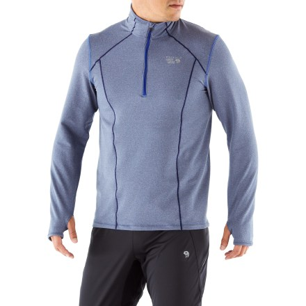 Fitness Perfect when the weather gets chilly, the men's Mountain Hardwear Beta Power Quarter-Zip shirt boosts your warmth and comfort with its midweight performance fabric. Midweight french terry fabric wicks moisture and supports hard-working muscles during active pursuits. Adjust the level of ventilation with the quarter-zip collar. Long cuffs with thumbholes increase warmth around hands. You'll run farther without chafing thanks to the flatlock seams. Stash workout accessories in the rear zippered pocket. The semifitted Mountain Hardwear Beta Power Quarter-Zip shirt for men moves with you during exercise. - $62.93