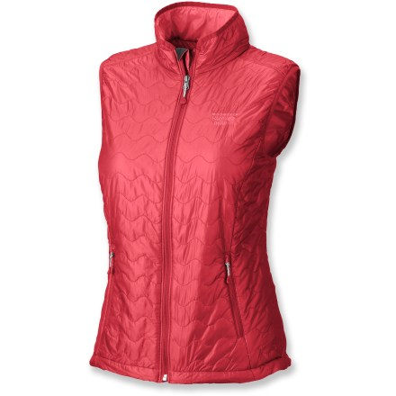 The Mountain Hardwear Thermostatic vest provides lightweight, water-resistant insulation for the cold and damp. It's wind- and water-resistant enough to be used as an outer layer, but the low-profile fit makes it a perfect mid layer beneath a waterproof shell. Lined with 60g of warm, lightweight and compressible Thermic Micro(TM) synthetic insulation; it continues to insulate even when damp and dries quickly. Durable ripstop fabric sheds wind and moisture. Dual-drawcord hem and stretch-bound armholes. Zip handwarmer pockets. Mountain Hardwear Thermostatic vest easily stores in its own pocket. - $90.93