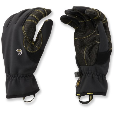Fitness The warm Mountain Hardwear Torsion gloves are made for backcountry travel, alpine climbing and other cold-weather activities where dexterity is crucial. Polyester soft-shell fabric is windproof and breathable for great comfort on active mountain adventures; fabric is backed wtih polyester microfleece for warmth. Water-resistant goatskin leather palms provide sure grip of ski poles and ice axes; leather wraps around the index fingers for improved durability in high-wear areas. Soft patches on the thumbs give you a gentle place to wipe your nose. Loops at the wrists make the Torsion gloves easy to get on. - $55.00
