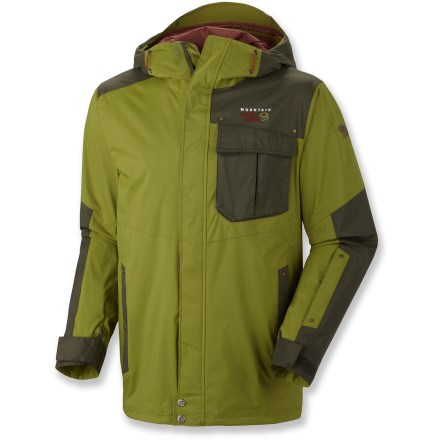 Ski Go on a high-speed skiing rampage in the seemingly invincible warmth of the Mountain Hardwear Snowzilla shell jacket. Durable Dry.Q(TM) Core 2-layer nylon shell offers breathable, waterproof protection that efficiently transfers moisture away for warm, dry comfort. Zippered vents at pits offer cooling airflow so you won't overheat during vigorous activity. Attached hood protects you from the elements and offers enough space for your snow helmet. Quickly adjust the hood and hem with 1-hand drawcord pulls. Attached stretch powder skirt blocks out cold air and snow entry. Pockets on the Mountain Hardwear Snowzilla jacket include handwarmers with zippers, flap chest pockets and plenty of interior pockets to stash your gear and goodies. - $125.83