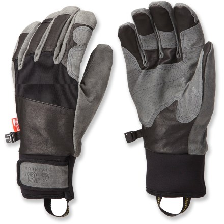Climbing The waterproof, windproof Mountain Hardwear Pistolero gloves have an articulated fit to provide good grip and dexterity while handling climbing gear, trekking poles and ice axes. OutDry(R) waterproof laminate provides excellent protection from wind and water. Dunk these gloves in water and the Q.Shield advance water repellency technology keeps the outer fabric completely dry; Q.Shield won't wear off. Pigskin leather palms stay supple to provide a sure grip on your mountain gear. Corded nylon at the backs of the hands stretches for a flexible fit. Plush fleece lines the backs of the hands, and brushed tricot polyester lines the palms for warmth and comfort. Gloves feature short gauntlets with rip-and-stick wrist closures to secure the fit. The Mountain Hardwear Pistolero gloves include loops to clip the gloves to a harness with a carabiner (sold separately). - $115.00