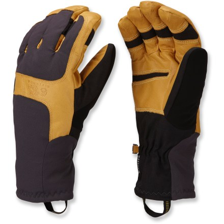 Climbing For big-mountain skiing and long backcountry tours, the Mountain Hardwear Zeus gloves give you the dexterity needed to adjust boot buckles and remove climbing skins, all while keeping your hands warm. OutDry(R) waterproof laminate provides excellent protection from wind and water. Dunk these gloves in water and the Q.Shield advance water repellency technology keeps the outer fabric completely dry; Q.Shield won't wear off. 4-way stretch nylon soft-shell fabric offers a snug, flexible fit. Thermic Micro(TM) polyester insulation keeps your hands warm on cold days. High-pile fleece lining adds warmth and is comfortable next to skin. Durable goatskin palms are soft and water resistant. The Mountain Hardwear Zeus gloves have precurved patterning with Kevlar(R) stitching that creates an articulated fit with great dexterity. - $110.00