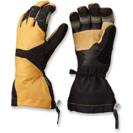 The full-featured Mountain Hardwear Boldog gloves are built for backcountry adventures. They're completely waterproof and have an articulated fit that offers great dexterity. OutDry(R) waterproof laminate provides excellent protection from wind and water. Dunk these mittens in water and the Q.Shield advance water repellency technology keeps the outer fabric completely dry; Q.Shield won't wear off. Thermic Micro(TM) polyester insulation keeps your hands warm on cold days. Long gauntlets cinch down around your jacket sleeves to keep snow out. Soft and warm acrylic/wool lining feels great next to skin. Durable goatskin leather palms and fingers are soft and water resistant; pig suede reinforcements on the fingers and thumbs stand up to abrasion. The Mountain Hardwear Boldog gloves have precurved patterning with Kevlar(R) stitching that creates an articulated fit with great dexterity. - $175.00