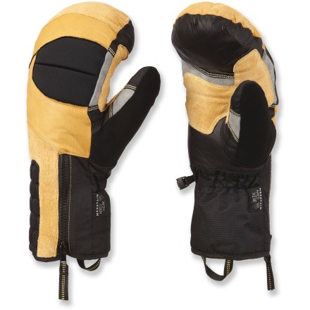 Ski The technical, leather-palmed Mountain Hardwear Chawa mittens are built to take on snowy climbs and winter ski tours. OutDry(R) waterproof laminate provides excellent protection from wind and water. Dunk these mittens in water and the Q.Shield advance water repellency technology keeps the outer fabric completely dry; Q.Shield won't wear off. Thermic Micro(TM) polyester insulation keeps your hands warm on cold days. Soft and warm acrylic/wool lining feels great next to skin. Durable goatskin leather palms and fingers are soft and water resistant; pig suede reinforcements on the fingers and thumbs stand up to abrasion. The Mountain Hardwear Chawa mittens have precurved patterning with Kevlar(R) stitching that creates an articulated fit with great dexterity. - $107.93