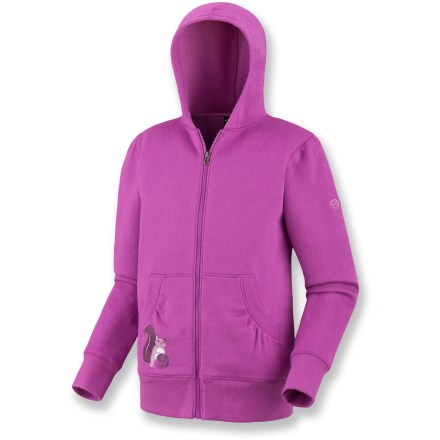 The Mountain Hardwear Albion hoodie is perfect casualwear for hanging out with friends. Soft cotton/polyester fabric will keep her warm. Albion hoodie features full-length zipper, hand pockets and a cute, small graphic on lower right front. Closeout. - $15.73