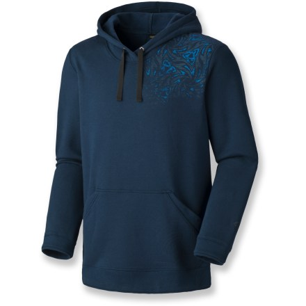 The Mountain Hardwear Kaberi pullover hoodie jacket lets you kick back after long days on the trails or at the crag. Cozy cotton/polyester fleece blend is soft against your skin. Low-profile hood offers close-fitting coverage. Kangaroo pocket provides a cozy spot for hands. Closeout. - $44.93