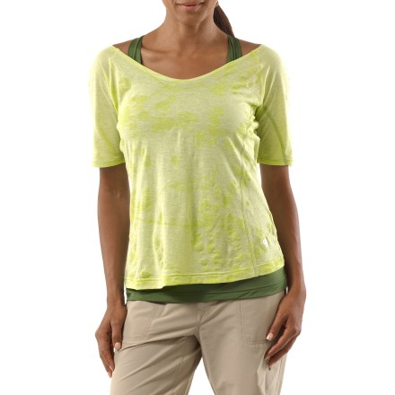Fitness The Navassa Elbow Sleeve shirt from Mountain Hardwear features a moisture-wicking, quick-drying tank inside a sheer outer shirt. This top is great for active and casual outings. Outer shirt is made of a rich cotton fabric for the finest in natural-fiber breathability and comfort; inner polyester tank top wicks moisture away from you and dries fast. Mountain Hardwear Navassa has an integrated shelf bra for support; spaghetti straps thread through a loop at center back. Water-based print adorns sheer outer layer for added style. Closeout. - $15.73