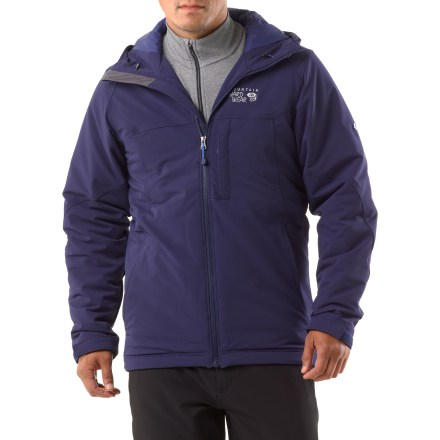 Stay warm and look sharp with the Mountain Hardwear Felix jacket-made with a winning combination of stretchy soft-shell fabric and soft, lightweight insulation. Felix jacket features a durable, water-shedding exterior with just enough stretch to ensure allover comfort. Lightweight synthetic Thermic Micro(TM) insulation provides excellent warmth in mild to moderate conditions. Insulated hood seals in warmth and shields your face from inclement weather. 1-hand adjustable hood and hem drawcords ensure quick adjustments; Micro-Chamois(TM)-lined chin guard prevents zipper chafe. Adjustable rip-and-stick cuff closures. Zip hand and chest pockets. Closeout. - $116.73