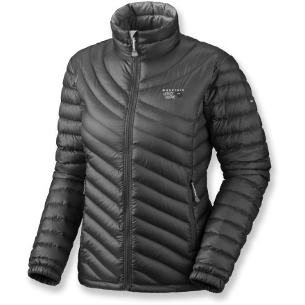 The women's Mountain Hardwear Nitrous down jacket offers exceptional warmth and a great fit. It may quickly become your go-to winter wear. Ripstop polyester shell is downproof and incredibly light, and has a Durable Water Repellent finish. Premium 800-fill-power goose down is extremely compressible and offers exceptional warmth for its weight. Quilted construction keeps the down from shifting, so cold spots just don't happen. Jacket features an interior draft flap behind the front zipper and a chin guard lined with soft microfiber chamois to protect against zipper abrasion. Also features a 1-hand-adjustable hem drawcord and full-elastic cuffs. Hand pockets keep your fingers warm. Closeout. - $149.93