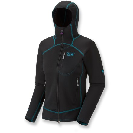 Fitness The Mountain Hardwear Solidus soft-shell jacket outfits you for hard-charging adventures. Polartec(R) Power Stretch(R) Hardface provides 4-way stretch, making it ideal for skiing, cold-weather cycling and other active sports. Power Stretch side panels increase breathability, making this jacket perfect for wearing alone or as a base layer. Low-profile, helmet-compatible hood is fitted for warmth and comfort. Integrated thumbholes keep sleeves in place. Zippered chest pocket stashes small items. Zippered hand pockets are set high to accommodate a harness or pack hipbelt. Closeout. - $50.73
