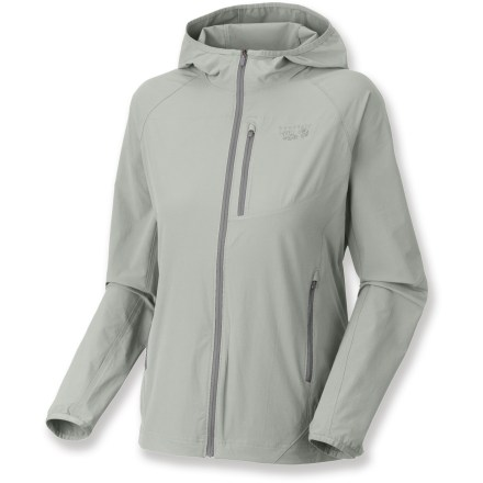 The Mountain Hardwear Chocklite jacket will quickly become your go-to wind shell for blustery outdoor adventures. Lightweight nylon shell stretches to move with you; Durable Water Repellent finish helps shed light moisture. Close fitting hood keeps the weather out and easily fits under a helmet. Chest pocket features a headphone port; jacket can be stuffed into the chest pocket for storage. Zippered handwarmer pockets offer a warm refuge for cold fingers. Drawcord hem helps seal out the cold. Closeout. - $47.73