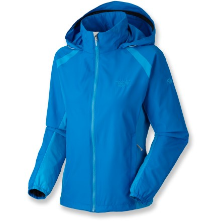The Mountain Hardwear Windrush jacket is the perfect choice when the wind picks up. Polyester shell fabric blocks the wind for superior warmth and comfort on breezy days. Hood easily stows when not in use. Front zipper is backed by a storm flap to keep the wind out. Jacket packs down small and tucks into a pocket for easy storage in your pack. Mesh-lined hand pockets and a hidden waist cinch round out features. Closeout. - $49.73