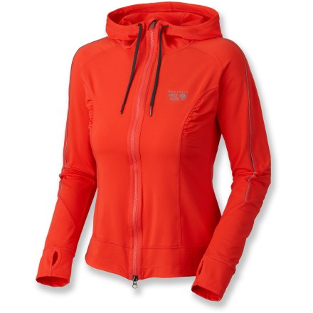 The Mountain Hardwear Mighty Power Hoodie jacket is a great choice to keep you warm and comfortable on outdoor runs. Stretchy polyester/elastane blend moves with you, wicks moisture and dries quickly. Hood features a drawstring adjustment for the perfect fit. Interior chest pocket features an envelope opening and headphone exit port. Rear zippered pocket keeps small items secure. Princess seams contour at the waist for a flattering fit. Thumbholes keep sleeves in place. Closeout. - $29.73