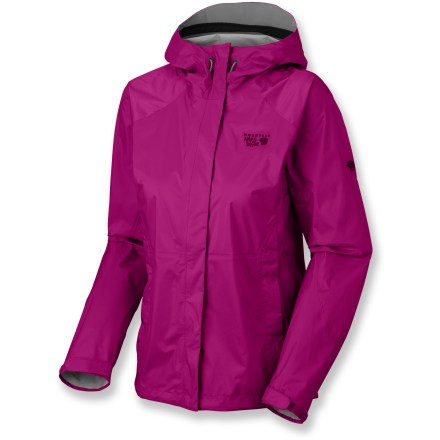 The women's Mountain Hardwear Epic rain jacket is built for the rainiest adventures. Lightweight ripstop nylon with a waterproof, breathable laminate releases moisture vapor from inside and blocks rain from the outside. Hood features a beefy laminated brim for added protection against the elements. Pit zippers allow cooling airflow as your activity heats up. Elastic-free cuff design features laminated tabs with rip-and-stick closures; hem adjusts with dual drawcords. Dual front zippered pockets stash small essentials or offer a cozy spot for chilly digits. The Mountain Hardwear Epic rain jacket compresses for easy storage in a pack. Closeout. - $69.93