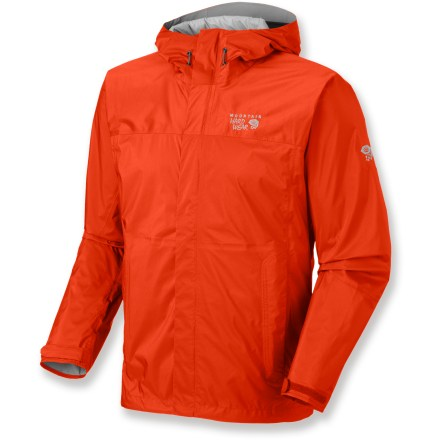 The Mountain Hardwear Epic rain jacket will help keep you dry and comfortable on your next outdoor adventure. Lightweight ripstop nylon with a waterproof and breathable laminate releases moisture vapor from inside and blocks rain from the outside. Ergonomic brimmed hood adjusts to fit snugly around your face and temples for superior protection and visibility. Pit zippers offer cooling airflow as your activity level heats up. The Mountain Hardwear Epic rain jacket features zippered handwarmer pockets. Adjustable hem drawcords and laminated cuff tabs help keep out the elements. Closeout. - $69.93