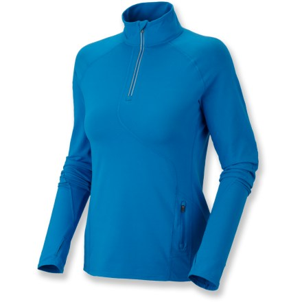 Camp and Hike The Butter Zippity top from Mountain Hardwear supples ample comfort while working out, hiking or simply taking the dog for a walk. Made from Better Butter(TM) jersey fabric that is peached on both side for softness; a wicking finish helps it move moisture away from skin and dry quickly. With a UPF 50+ rating, fabric provides excellent protection against harmful ultraviolet rays. Zippered neck offers immediate ventilation. Zippered pocket along side panel stores workout extras. Thumbholes on cuffs keep sleeves in place and offer wrist and hand warmth. Reflective highlights increase visibility in low light. Flatlock seams increase comfort throughout. Closeout. - $46.93