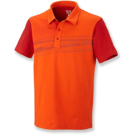 The Mountain Hardwear Cragger Polo shirt outfits you in comfort for casual pursuits. Cotton and polyester create the perfect balance of natural comfort, easy care and style. Fabric provides UPF 30 sun protection, shielding skin from harmful ultraviolet rays. Split-hem side seams allow ease of movement. Water-based placement print adds style. The Mountain Hardwear Cragger Polo shirt features a semifitted cut that is not too tight and not too loose. Closeout. - $15.73