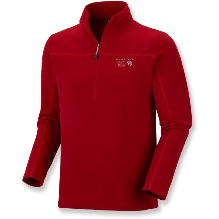 The Mountain Hardwear MicroChill Zip T microfleece top is a great, low-profile insulation piece made for cold-weather fun. Polyester microfleece wicks moisture away and dries quickly to keep you comfortable during active pursuits. Semifitted cut and flatlock construction look and feel great. High-cut collar enhances protection from the cold. Mountain Hardwear MicroChill Zip T features a half zipper for ventilation control. Closeout. - $36.93